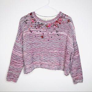 Maje Texture Beaded Jewel Crop Sweater Wool Blend
